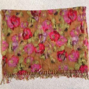 J Crew multi color long scarf, 100% wool
